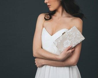 Bridal Clutch | Light Gold Bridal Purse | Lace Wedding Clutch | Personalized Box Clutch [Charlotte Box Clutch: Ivory on Champagne]