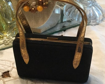 MAKE an OFFER! Enticing Signed Elgin American Compact Purse Combination Gold Tone Black Suede Small Compact Feminine Woman 1940's  PL