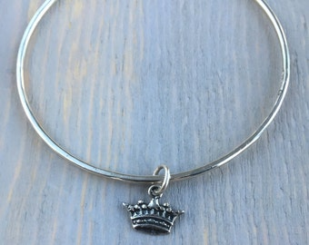 Sterling Silver Squared Bangle with Crown
