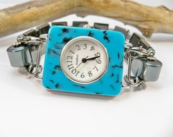 Watch Bracelet, Turquoise and Black Watch, Interchangeable Watch Band, Black Watch, Stretch Wrist Watch,