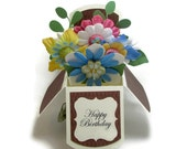 Flower Bouquet - Pop Up Card - Happy Birthday Card - Happy Anniversary - Gift Card Holder - Happy Mother's Day - Mother In Law - Grandmother