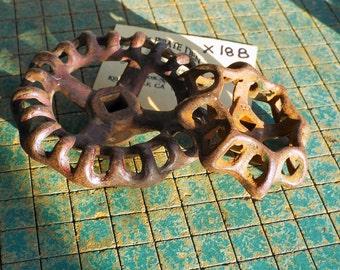 2 rusty iron valve handles, large, vintage garden faucet knobs, hose bibb, irrigation wheel handles, industrial, steampunk art, X18B