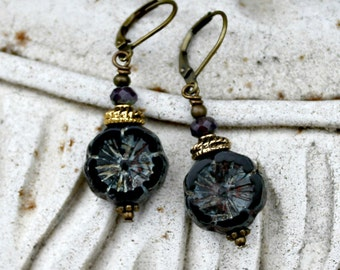 Bohemian Czech Flower Earrings, Black, Dark Violet, Antique Brass, Boho, Gift for Her, Christmas Gift for Women