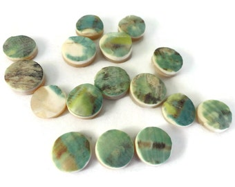 Green Snail Vintage Cabochons - 25 Antique Mother of Pearl Shell Cabs Jewelry Findings Craft Supplies