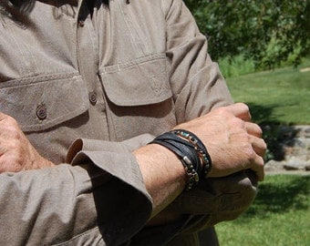 Men's Leather Bracelet, Cuff, or Women's Leather Bracelet w Sterling Silver, Black Spinel and Turquoise
