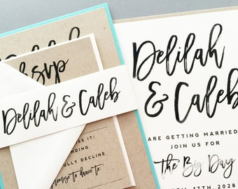 Wedding Invitation, Wedding Invite, Wedding Suite, Kraft, Black and White, Brush Script | SAMPLE