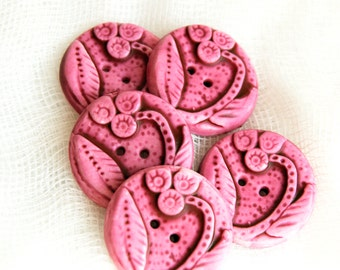 Handmade Buttons with Floral Design in Raspberry Pink