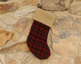 Personalized Christmas Stocking Wool Plaid, Tan Fleece Top