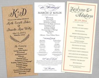 PRINTABLE - Wedding Programs (Any Size, Any Style)