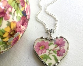 Ecofriendly recycled - broken china jewelry - pendant necklace - antique summertime chintz heart pendant - made from recycled china