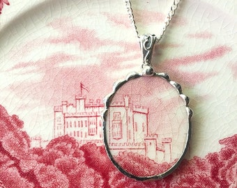 Broken china jewelry - recycled china pendant necklace, Antique English castle transferware, broken china jewelry
