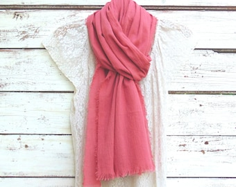 Cotton Gauze Scarf, Summer Scarf, Cotton Scarf, Rose Pink Scarf, Women's Fashion Scarf, Fashion Accessories, Gift Idea