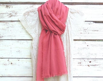 Cotton Gauze Scarf, Summer Scarf, Cotton Scarf, Rose Pink Scarf, Women's Fashion Scarf, Fashion Accessories, Gift Idea