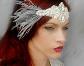 Art Deco Headpiece - Vintage Inspired - Pearl Rhinestone Flapper Headband - Bridal, Wedding, Costume Headdress - Color Choice