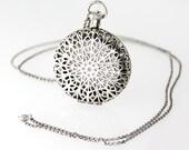 Silver Locket Filigree Necklace, Silver Floral Locket, Push Button Locket, Pill Box Necklace, Bohemian Locket, Chunky Silver Locket