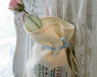 Bag, Beaded Heart, Linen Bag, Ribbon Embroidery, Gift Bag, Valentine, by mailordervintage on etsy