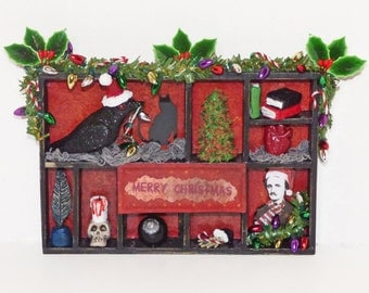 Christmas in July - Gothic Christmas Decor - Edgar Allan Poe Chirstmas Decor - Dark Creepy Christmas Decor