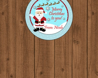 Santa Claus Favor Tag, Christmas Gift Tag, Holiday Favor Tag, Santa and Reindeer Tag