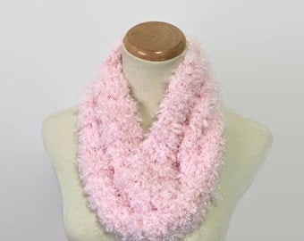 Sale Knit Pink Scarf, Knit Cowl, Hand Knit Cowl, Circle Scarf, Fashion Scarf, Winter Scarf, Holiday Gift, Fiber Art