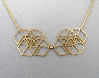cube necklace, cube jewelry, geometric necklace, cubes necklace, bib necklace, statement necklace