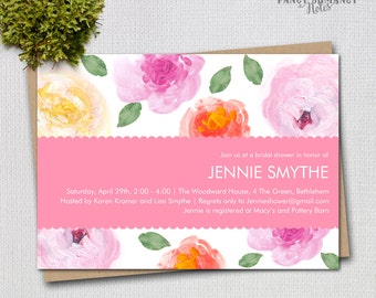 Bridal Shower Invitation / Pink Yellow Coral Painted Flower Design / PRINTABLE INVITATION  / #8314