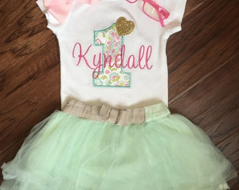 Pink and Gold Birthday Outfit - Pink and Gold Birthday Shirt - Girls First Birthday Outfit - Shabby Chic Birthday Shirt