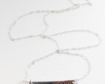 Silver Bar and Bird Necklace,Silver Necklace,Bird Necklace,Bird Jewelry,Stamped,Mongram Necklace,Customized Necklace,Bar Necklace,Initial