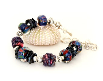 Midnight Blue Glass Bead Bracelet. Colorful Artisan Fiber Beads. Fiber Bead Bracelet. Lampwork Jewelry.