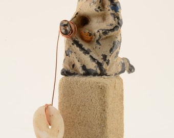 Humbly:  Original, sustainable, mixed media, Assemblage Art,  small sculpture by Leslee Lukosh of Foundturtle in Portland Oregon
