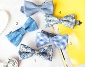 Wedding Set of 5 Blue Men's Bow Ties, Groomsmen Bow Ties, Mismatched Wedding Bow Ties