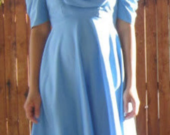 SALE - 1970s periwinkle jersey crepe ruched dress with back tie, size XS