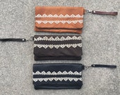 Vintage Lace and Leather Foldover Clutch Wristlet