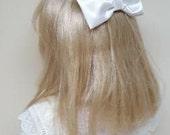 White Satin Hair Bow Child's Headpiece Communion Bridesmaid Flower Girl Clip Barrette Hair Accessory
