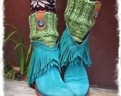 Green Boot Cuffs knitted LEG WARMERS PEEKABOO warmers Chunky Boot Cuff Knit Boot toppers womens Boot Cuffs Healing hand buttons GPyoga