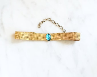 Vintage 60s 70s Oval Blue Cab Choker Gold Necklace Mesh Jewelry
