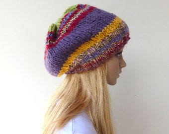 Purple slouch Beanie Colourful Knit Hat Womens Purple slouchy hat
