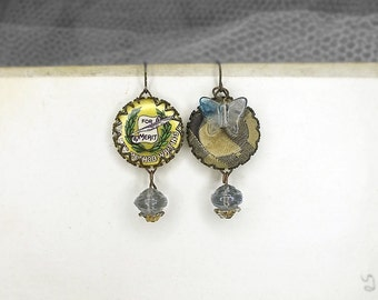 SALE Rustic Assemblage Earrings - Vintage Shabby Make-do Mismatch Cabochons - Plaid Button w Butterfly, Handwriting Merit Badge Pin - Blue
