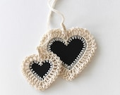 No. 005 crochet heart stationery gift tags black hearts chalkboard look