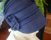 womens chemo hat chemo headwear blue Cap Denim Blue Newsboy Peak hat
