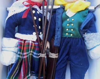 Erik and Eva Porcelain Ski Dolls #80002 - Heritage Collection - Skier Doll - Collectible Doll - Vintage Ski
