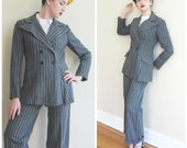 Vintage 1970s Grey Wool Pant Suit with White Stripes / 70s Young Victorian Arpeja Blazer and Pants Ensemble / Medium