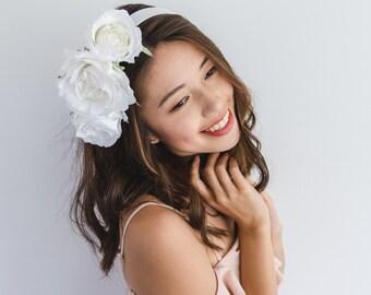 SALE - white flower crown headband // Elsah / flower statement headband, wedding bridal hair crown, fascinator, garden wedding,