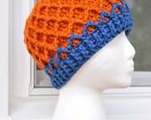 Crochet Lattice Hat - Denver Broncos Orange and Blue