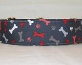 Dog Bone Martingale Dog Collar - 1.5 or 2 Inch - fun puppy paw white gray red doggy