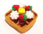 Felt food waffle set (strawberry), felt waffle set, eco friendly felt play food for children's toy kitchen