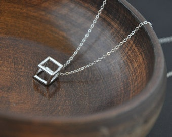 Silver Geometric Necklace- Silver Cube Necklace, Dainty Silver Necklace, Unique Necklace, Modern Necklace, Minimal Necklace