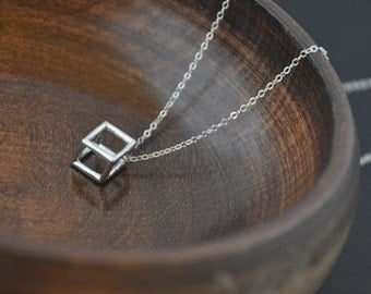 LAST ONE- Silver Geometric Necklace- Silver Cube Necklace, Dainty Silver Necklace, Unique Necklace, Modern Necklace, Minimal Necklace