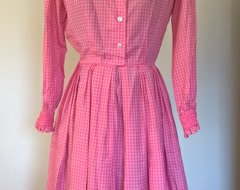 Vintage 60's Pink Gingham Pleated Dress