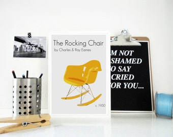 Art Print Poster The Eames Rocking Chair by Charles and Ray Eames Retro Home Decor - Designer Chair Print - Vintage Style Wall Art in Yellow