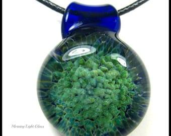 Pendant - Boro Glass -Lampwork - Blue Planet - Large Frit Implosion -